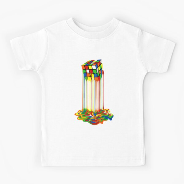 Rainbow Abstraction melted rubiks cube Kids T-Shirt