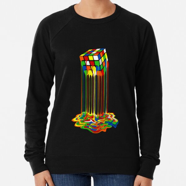 Rainbow Abstraction melted rubiks cube Lightweight Sweatshirt