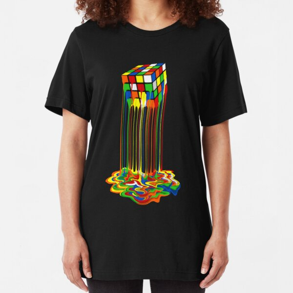 Rainbow Abstraction geschmolzener Rubiks-Würfel Slim Fit T-Shirt