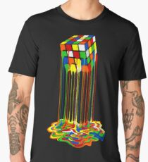 Rainbow Abstraction melted rubiks cube Men's Premium T-Shirt