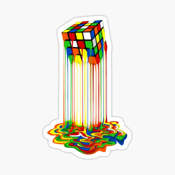 Rainbow Abstraction melted rubiks cube Sticker