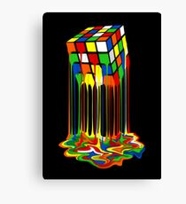 Rainbow Abstraction melted rubiks cube Canvas Print