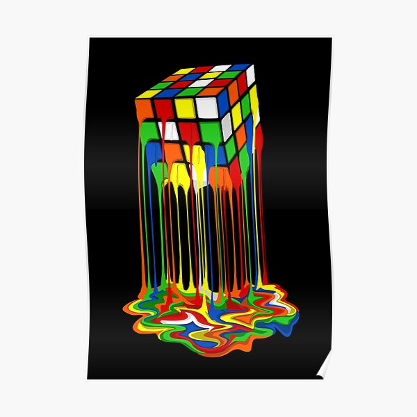 Rainbow Abstraction melted rubiks cube Poster