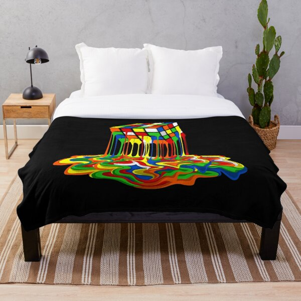 Rainbow Abstraction melted rubiks cube Throw Blanket