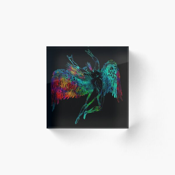 ICARUS THROWS THE HORNS - mythical  *awesome UNLISTED designs in my portfolio* Acrylic Block