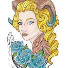 «Chica cuernos, rosas azules» de Galbrin