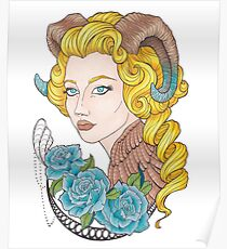 Girl horns, blue roses Poster