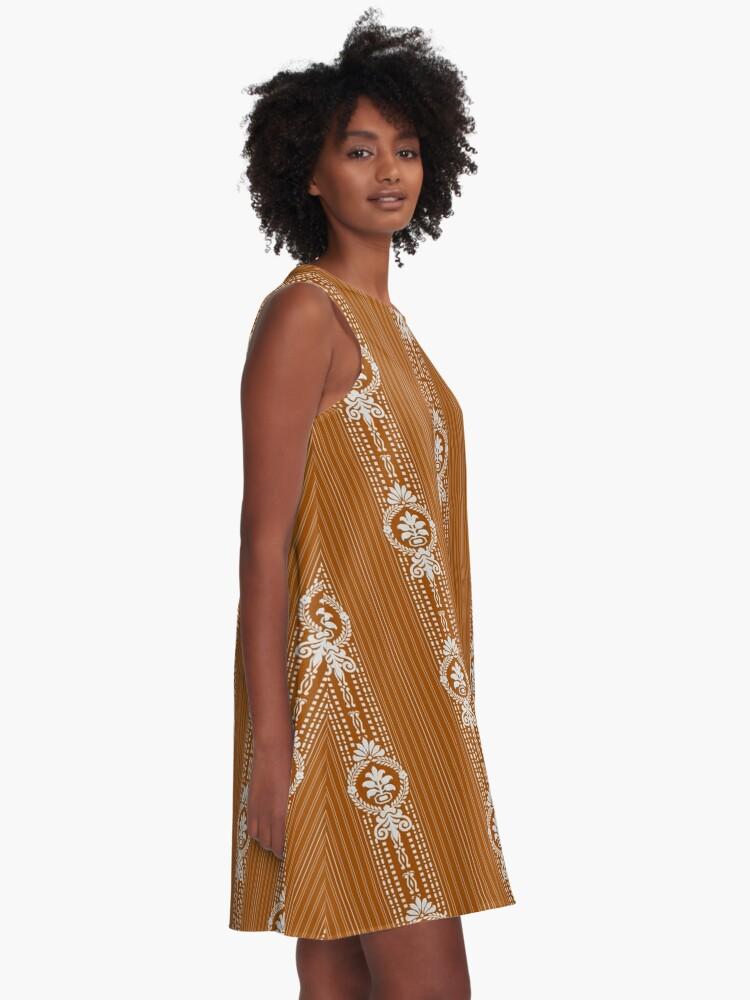 Alternative Ansicht von Blume mit Lorbeerkranz A-Linien Kleid