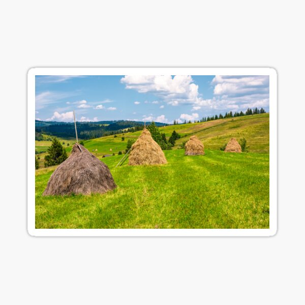 haystacks in a row on a grassy field Sticker