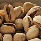 Pistachios close-up by Stephen Thomas
