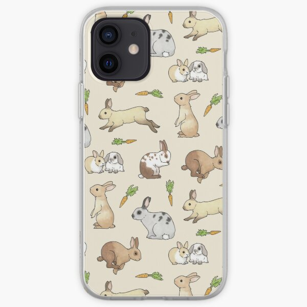 Rabbits - Cute Bunnies and Carrots iPhone Soft Case
