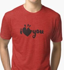 I Love You Lettering with a Bitten Heart Tri-blend T-Shirt