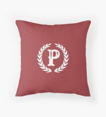 Rustic Red Monogram: Letter P Throw Pillow