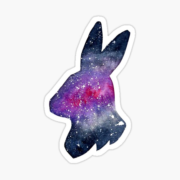 Galactic Watercolor Bunny Rabbit Silhouette Sticker
