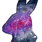 Galactic Watercolor Bunny Rabbit Silhouette by Brandy Sinclair