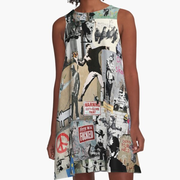 Banksy Collage A-Line Dress