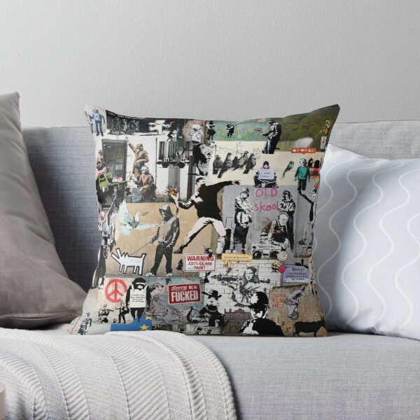 Banksy Collage Coussin