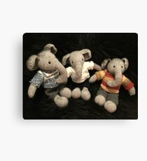 Knitted Elephants Canvas Print