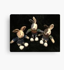 Knitted rabbits Canvas Print
