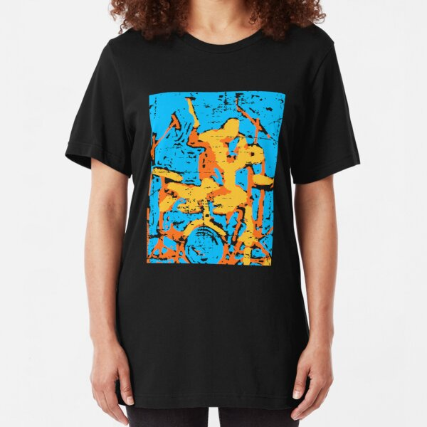 Modern Art Style Drummer Digital Painting Slim Fit T-Shirt