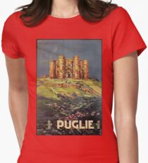 Apulia Castle del Monte vintage Italian travel ad Women's Fitted T-Shirt