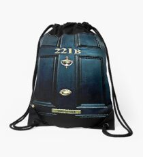 Haunted Blue Door with 221b number Drawstring Bag