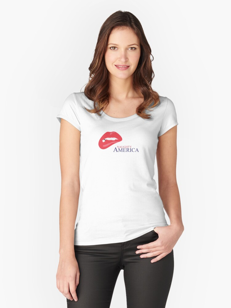 Naughty America Womens Fitted Scoop T Shirt Front