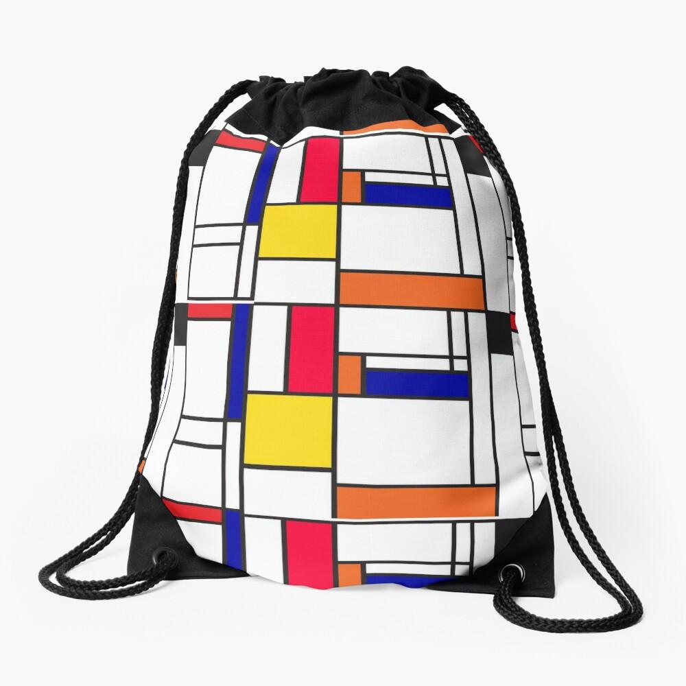 Mondrian inspired pattern maze Drawstring Bag