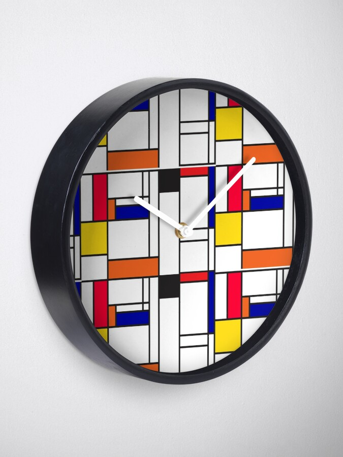 Alternate view of Mondrian inspired pattern maze Clock