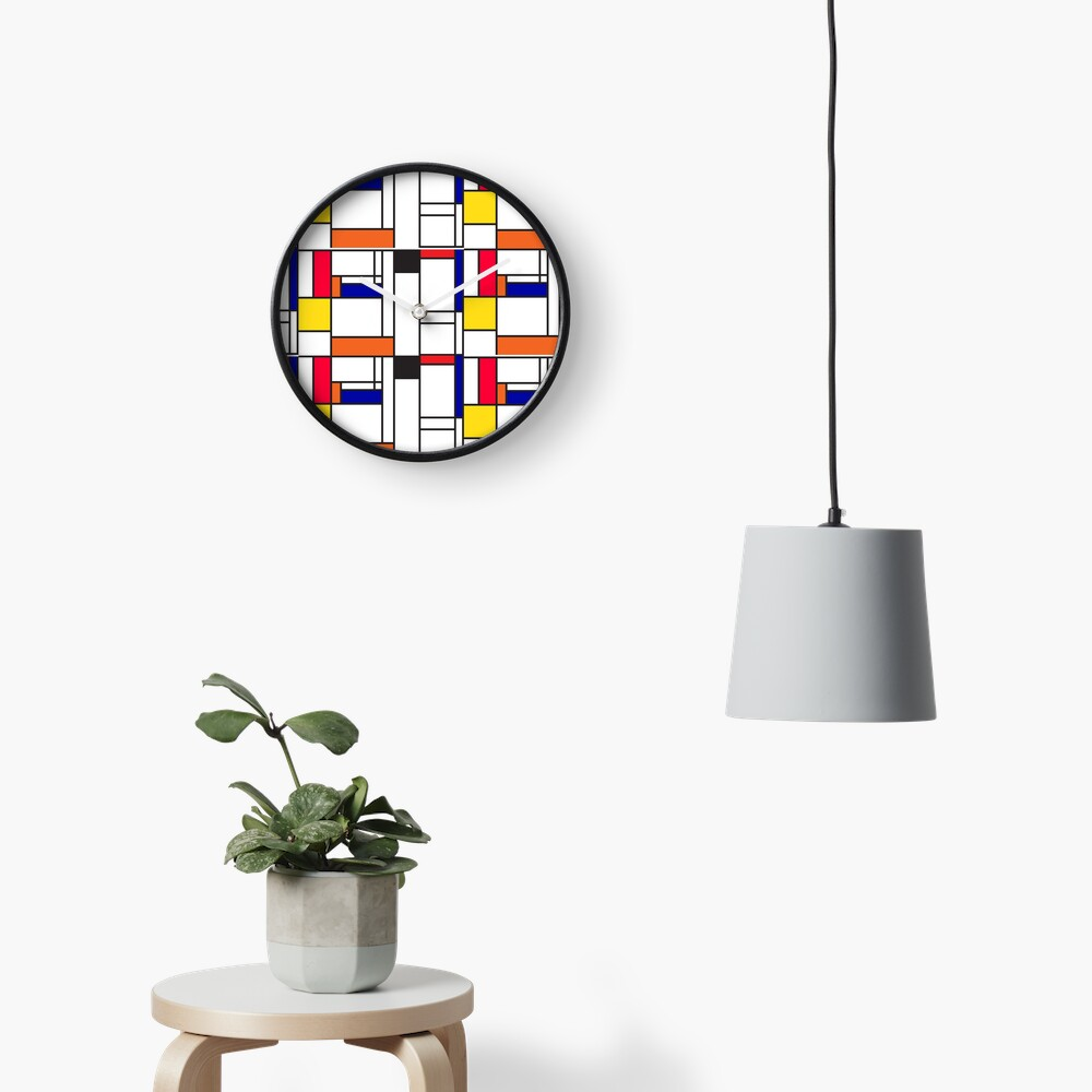 Mondrian inspired pattern maze Clock