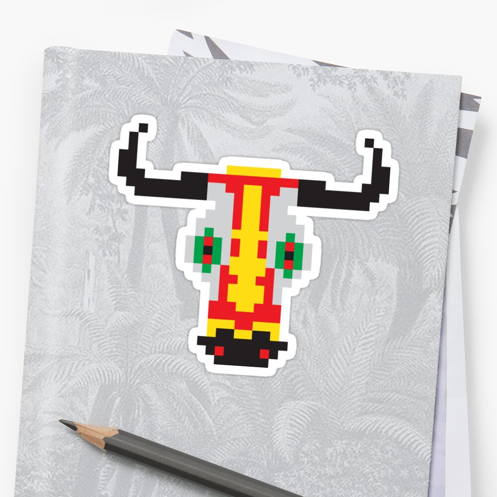 Pixelated Bull Head Of Barranquillas Carnival In Colombia Print Or Rodeo Birthday Shirt For Country Lifestyle T Shirt Sticker