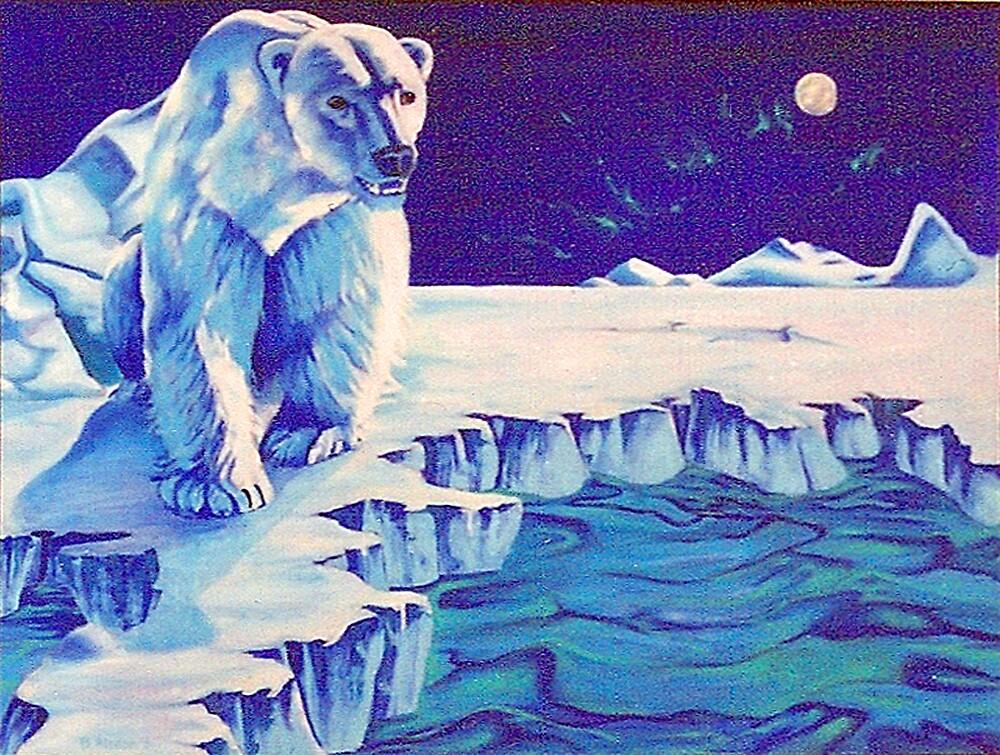 Polar Bear Among the Northern Lights by brisdon