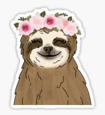 Floral Crown Sloth Sticker