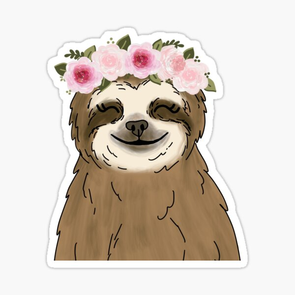 Floral Crown Sloth Sticker