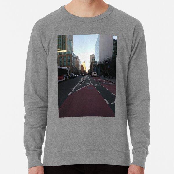 Street, City, Buildings, Photo, Day, Trees Lightweight Sweatshirt