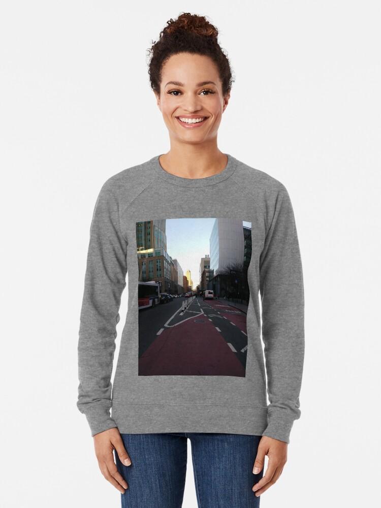 Alternate view of Street, City, Buildings, Photo, Day, Trees Lightweight Sweatshirt