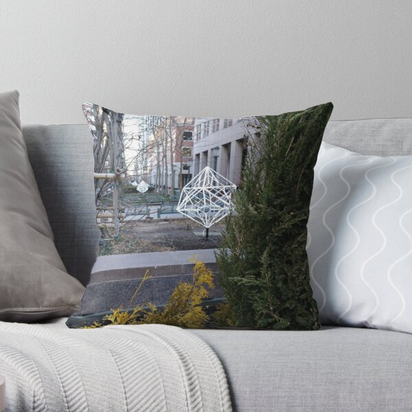 Street, City, Buildings, Photo, Day, Trees Throw Pillow