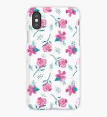 Mixed Flower Pink & Teal Watercolor Pattern iPhone Case