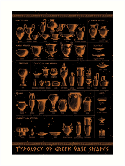 Typology Of Greek Vase Shapes Art Prints By Catmadepattern Redbubble