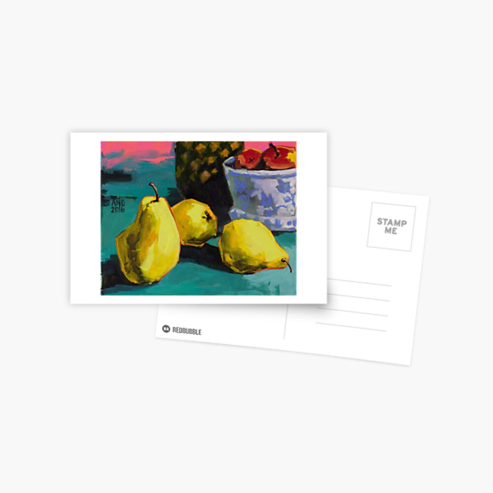 Still life with pears and pineapple Postcard