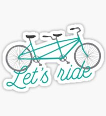 Let's Ride Tandem Bicycle Illustration - Teal  Sticker