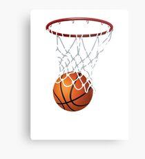 Basketball and Hoop Net Metal Print