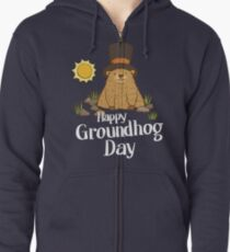 Cool and Funny Happy Groundhog Day TShirt Zipped Hoodie