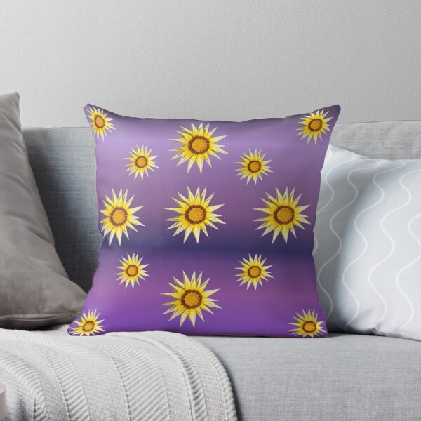 Purple Pattern With Yellow Flowers Throw Pillow