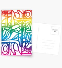 Rainbow Stained Glass Pattern Postcards