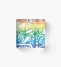 Rainbow Stained Glass Pattern Acrylic Block