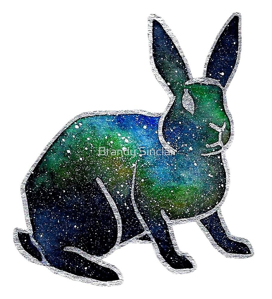 Nebula Watercolor Bunny Rabbit by Brandy Sinclair