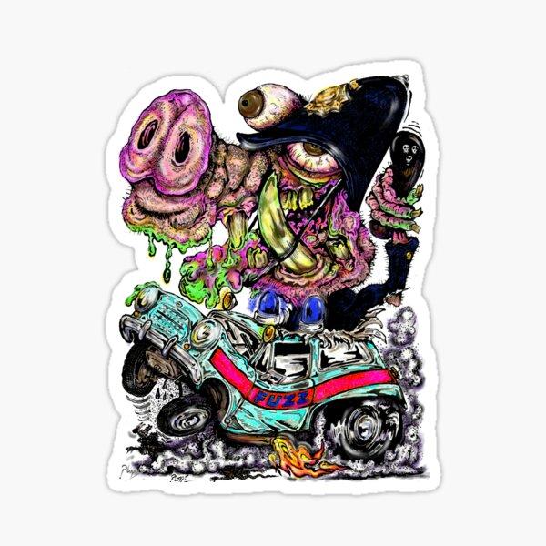 70s style cartoon Cops n Robbers. Sticker