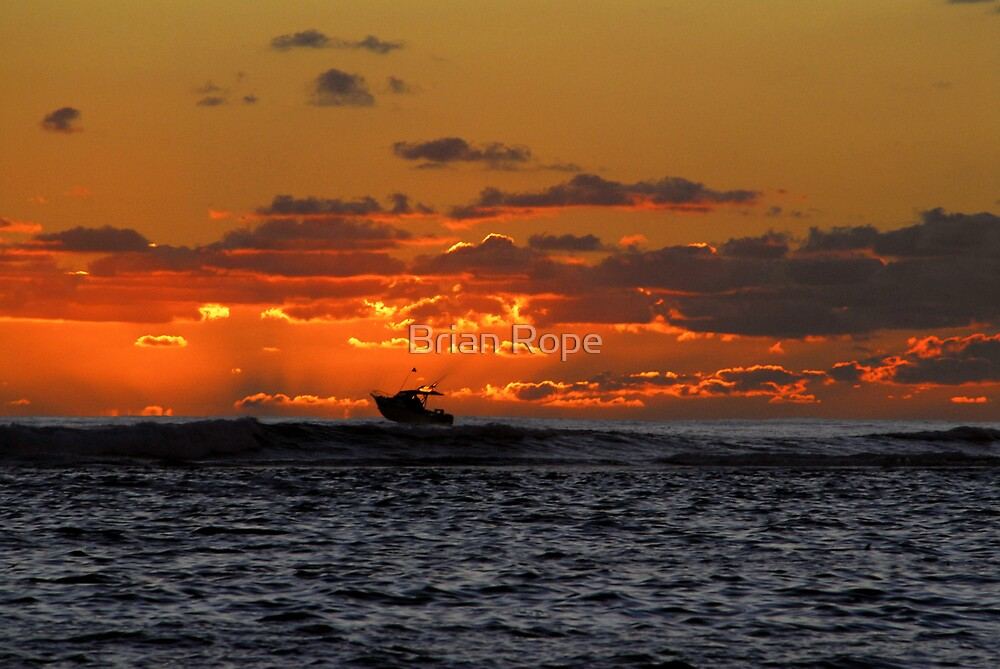 Surfing Fishing Boat by Brian Rope