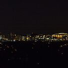 Orange Supermoon over Carrier Dome Syracuse NY by janetlee